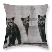 Caution Bears Throw Pillow