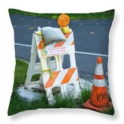 Caution, Road Work Throw Pillow