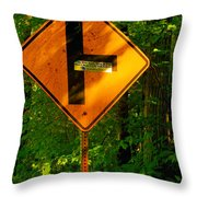 Caution T Junction Road Sign Throw Pillow