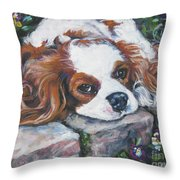 Cavalier King Charles Spaniel In The Pansies  Throw Pillow by Lee Ann Shepard