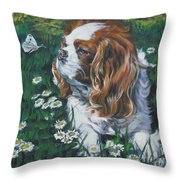 Cavalier King Charles Spaniel With Butterfly Throw Pillow by Lee Ann Shepard