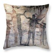 Cave Painting Of Prehistoric Man Throw Pillow