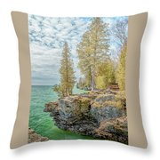 Cave Point Bluffs 2 Throw Pillow