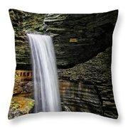 Cavern Cascade In Watkins Glen Throw Pillow