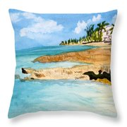 Cayman Shoreline Throw Pillow