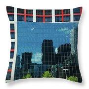 Cbc Building Tv Screen Of Downtown Highrises Throw Pillow