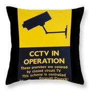 Cctv Warning Sign Throw Pillow