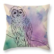 Cecil The Sad Owl Throw Pillow