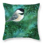 Cedar Chickadees - Bird 1 Throw Pillow