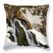 Cedar Creek Falls Winter Throw Pillow