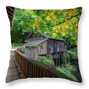 Cedar Creek Grist Mill Throw Pillow
