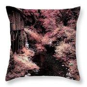 Cedar Creek Grist Mill Soft Burgundy Throw Pillow