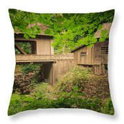 Cedar Creek Mill And Covered Bridge Throw Pillow