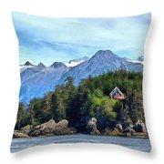 Cedar Home On Bluff Throw Pillow