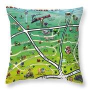 Cedar Park Texas Cartoon Map Throw Pillow