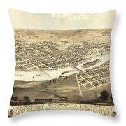 Cedar Rapids Iowa 1868 Throw Pillow