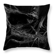 Cedar Roots Black And White Throw Pillow