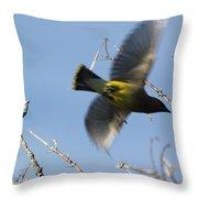 Cedar Waxwing In Flight Throw Pillow