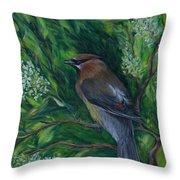 Cedar Waxwing In Lilac Throw Pillow
