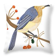 Cedar Waxwing In The Berries Throw Pillow