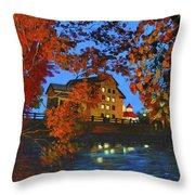 Cedarburg Mill At Night Throw Pillow