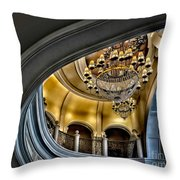 Ceiling And Chandelier In Bellagio Throw Pillow