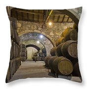 Cellar With Wine Barrels Throw Pillow