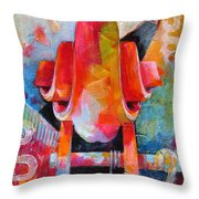 Cello Head In Blue And Red Throw Pillow