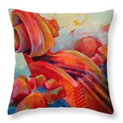 Cello Head In Red Throw Pillow