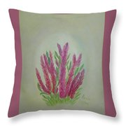 Celosia Dragon's Breath Acrylic Painting By Artist Rosie Foshee Throw Pillow