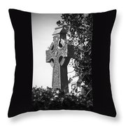 Celtic Cross At Fuerty Cemetery Roscommon Ireland Throw Pillow