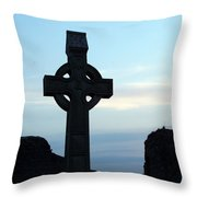 Celtic Cross At Sunset Donegal Ireland Throw Pillow