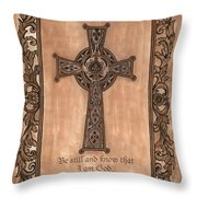 Celtic Cross Throw Pillow by Debbie DeWitt
