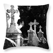 Celtic Crosses At Fuerty Cemetery Roscommon Ireland Throw Pillow