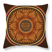 Celtic Dragonfly Mandala In Orange And Brown Throw Pillow
