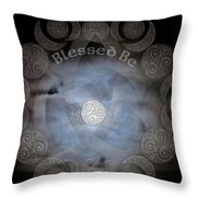 Celtic Triple Moon Goddess Mandala Throw Pillow
