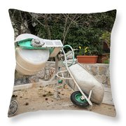 Cement Mixer And A Wheelbarrow In Croatia Throw Pillow