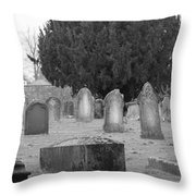 Cemetery Church Of St. Mary Wedmore Throw Pillow