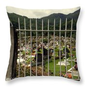Cemetery In Seychelles Islands Throw Pillow