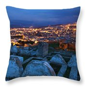 Cemetery Overlooking Fes, Morocco Throw Pillow