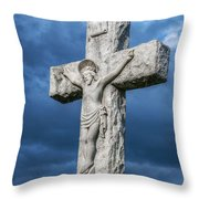Cemetery Statue Of Jesus Throw Pillow