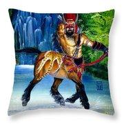 Centaur In Waterfall Throw Pillow