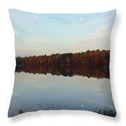 Centennial Lake Autumn - Reflective Moon Over The Lake Throw Pillow