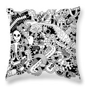 Centipede Throw Pillow by Chelsea Geldean