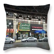 Central Camera On Wabash Ave  Throw Pillow
