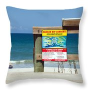 Central Florida Beach Warning Throw Pillow