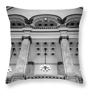 Central Library Milwaukee Interior Bw Throw Pillow