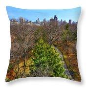 Central Park East Skyline Throw Pillow