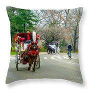 Central Park Horse And Buggy Rides New York City Throw Pillow