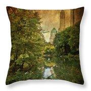 Central Park In Autumn Texture 4 Throw Pillow